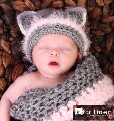0b58a50deafa0 PDF Crochet PATTERN, Newborn Kitty Hat With Cocoon Pattern, Permission To  Sell Finished Product