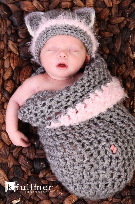 Pdf Crochet Pattern Newborn Kitty Hat With Cocoon Pattern