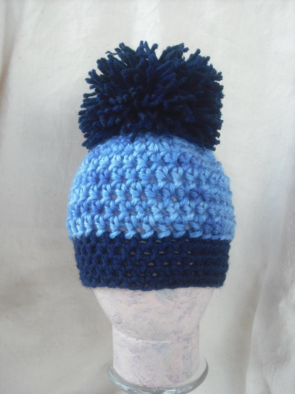 Boys Newborn Blue pom pom crochet hat, Ready to ship